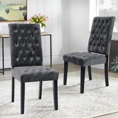 Deluxe Velvet Gray Kitchen Chairs Dark Grey Dining Living Room Dinner Seat  Chair | eBay