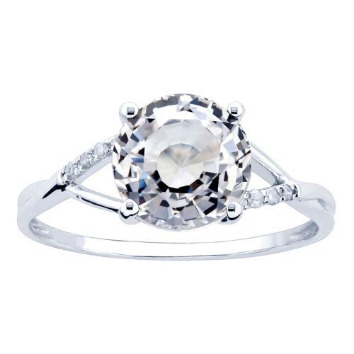 Blue 10K White Gold 3.45ct TW White Sapphire and Diamond Ring