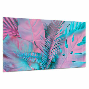 Wall-Art-Tempered-Glass-Photo-Print-Picture-Abstract-Neon-Palms-Prizma-GWA0358