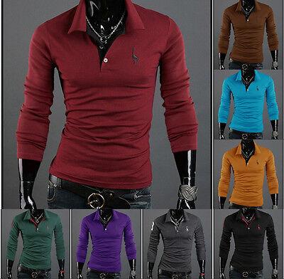 New Mens Stylish Slim Fit Long Sleeve Casual Polo Shirt T-shirts Fashion Tops