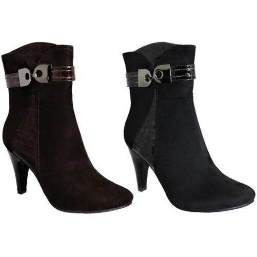 diseños exclusivos Mujer ante ante ante hebilla Acento Charol Contraste Mujer Ante Tobillo botas de tacón  Envío rápido y el mejor servicio
