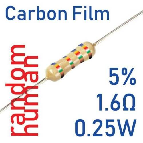 20 a 1000 Resistori 1.6 ohm 5/% 1//4 0.25W Carbon Film attraverso 1.6ohm Arduino Pi