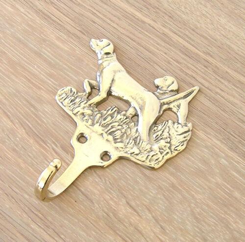 Coat Hook 8 x 10cm 2 Dogs Design Italian Cast Brass