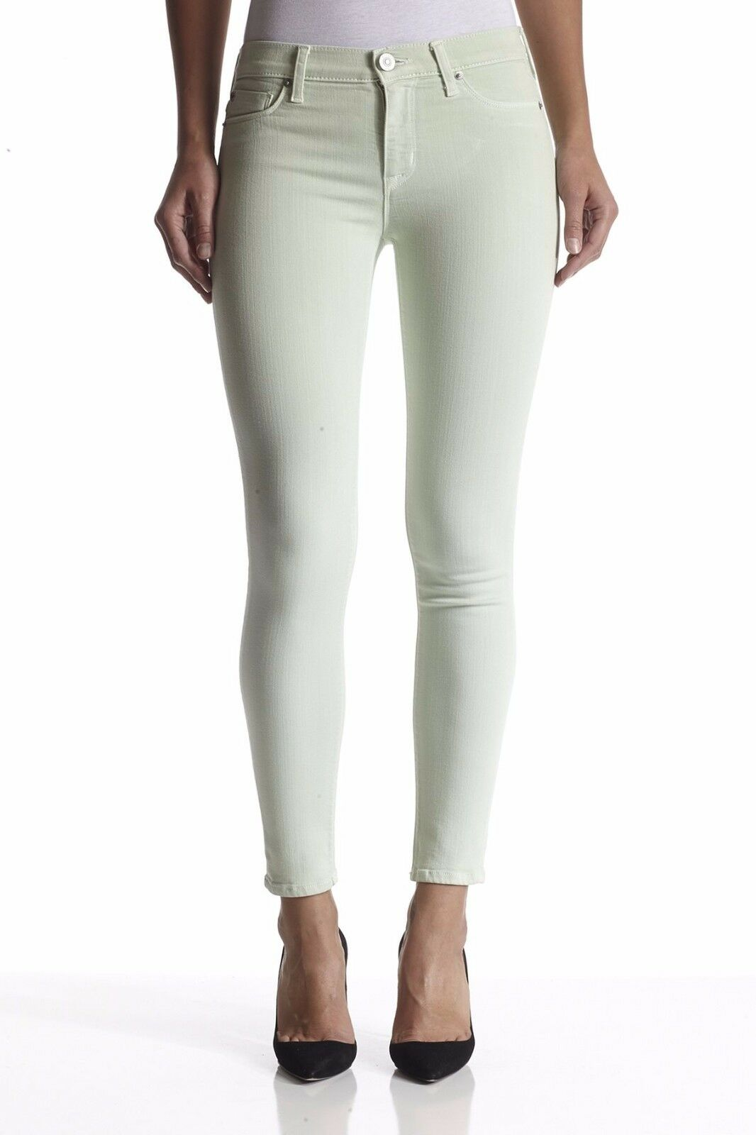 176 NWT HUDSON 25 Seafort Light Green Nico Mid Rise Ankle Super Skinny Jeans