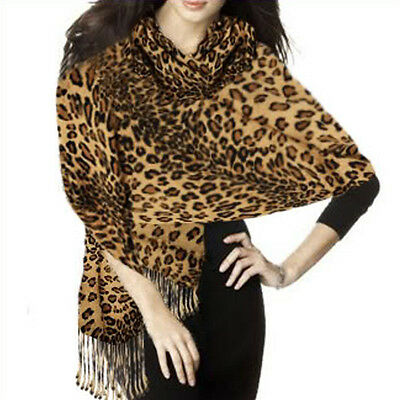 Graduated Leopard Animal Print Brown Gold Pashmina Soft Shawl Scarf Stole 160g