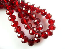 50pcs 8x6mm Dark Red Rondelle Faceted Crystal Glass Loose Charms Beads Findings