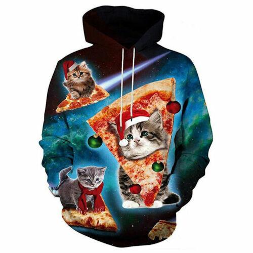 Women Men UGLY XMAS 3D Print CHRISTMA SWEATER Vacation Santa Elf Sweatshirt Gift