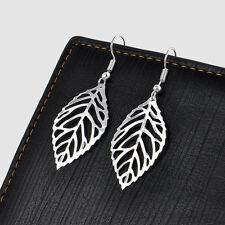 New Jewelry Womens Elegant Silver Gold Ear Hook Hollow Leaf Dangle Earrings Gift