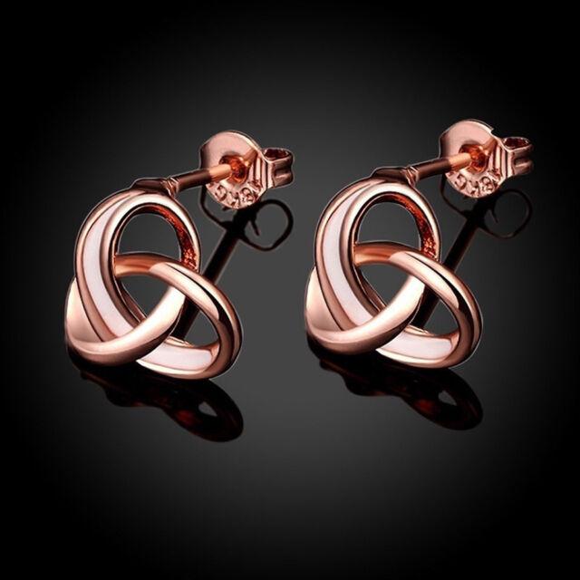 Fashion Women Elegant Rose Gold Color Plug-in Cross Knot Earrings Ear Studs -