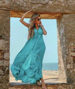 TIARE HAWAII Maxi Teal Green Blue KRAWANG Kimono Dress