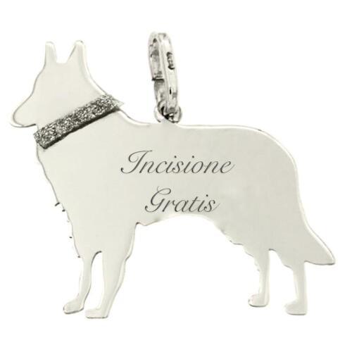Ciondolo cane pastore belga mm 25x24 in argento 925 rodiato incisione gratis