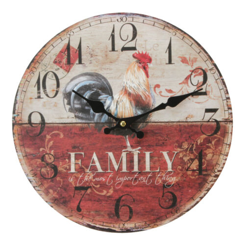 Rooster Design family kitchen MDF WALL CLOCK 30 cm w9774