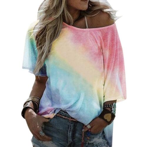 Damen Kurzarmshirt Lose Baggy Sommer Freizeitbluse T-Shirt Tops Bluse Oberteile