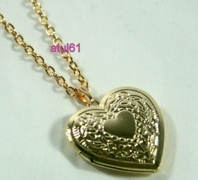Heart Shaped Locket Pendant Necklace Gold Plated Vintage on Long Chain Gift