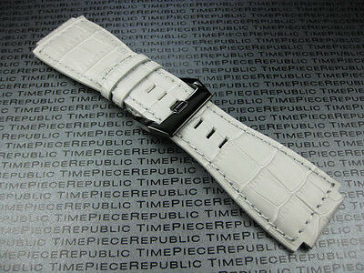 24mm Alligator Grain Leather Strap White Grey Band for Bell & Ross BR-01 BR-03