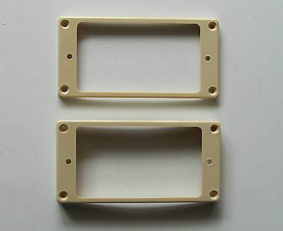 2x Cream Humbucker Pickup Ring Curved Bottom Frame fits Epiphone LP Guitar