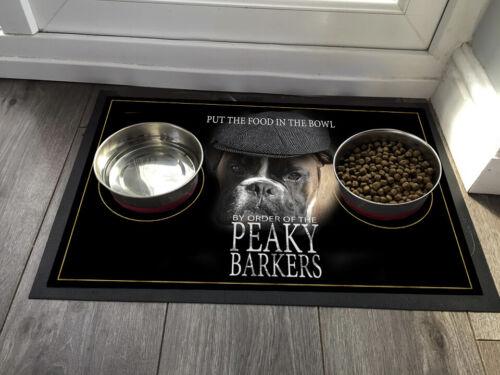 Afilada Barkers Boxer Perro-Mascota Perro Tazón Mat pálida anteojeras 60 X 40 cm Alfombra De Gran Tamaño