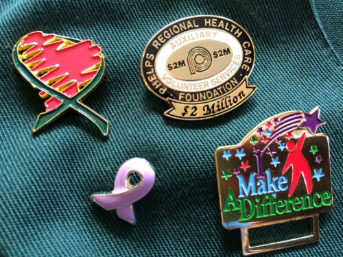4 healthcare pins, breast cancer pin, small green vest,heart Pin Lapel Pin