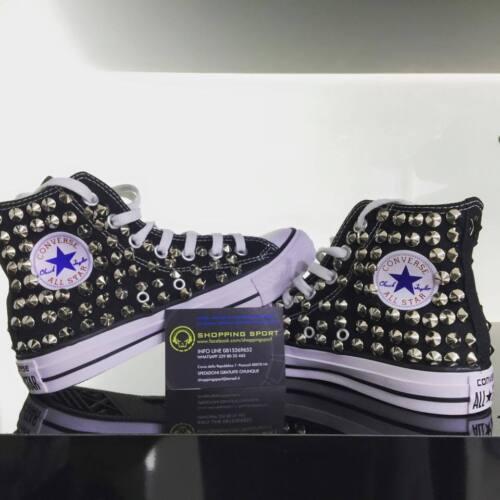 goujons à en argent High C étoile Black cloutée des Converse avec sans personnalisé logo waFW4HXq