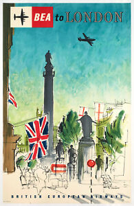 Original-Vintage-Poster-Sherborne-BEA-to-London-Aircraft-Plane-1957
