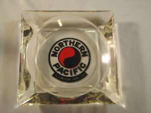 VINTAGE NORTHERN PACIFIC GLASS ASHTRAY YELLOWSTONE PARK LINE CIGARETTE USA COOL