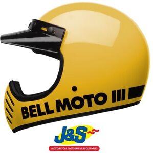 Bell-Moto-3-Classic-Yellow-Motorcycle-Helmet-Motocross-Black-MX-Off-Road-J-amp-S