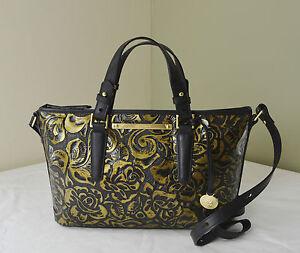 Brahmin Gold Rousseau Rose Floral Embossed Mini Asher Satchel Crossbody Bag | EBay
