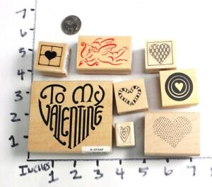 Wooden-RUBBER-STAMP-Block-Lot-Hearts-Love-Friendship-Valentines