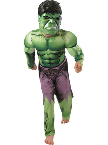 Deluxe Incredible Hulk Age 3-8 Boys Fancy Dress Kids Marvel Costume New