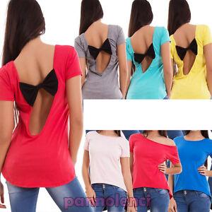 Maglia-donna-maglietta-t-shirt-schiena-nuda-fiocco-maniche-corte-nuova-CJ-2066