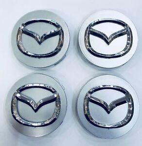 NEW-4pcs-56mm-MAZDA-Silver-Wheel-Logo-Emblem-Badge-Hub-Caps-Rim-Caps