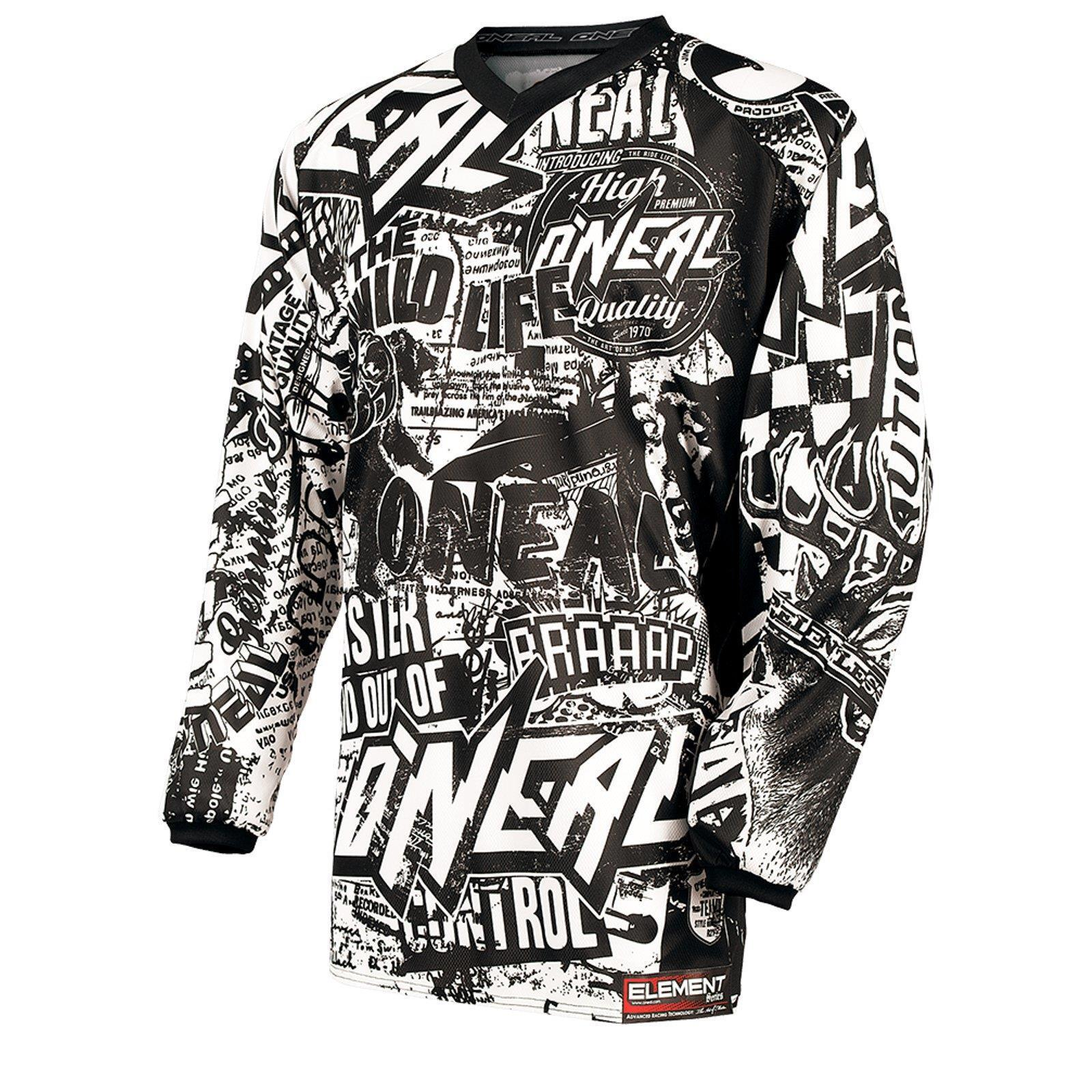 ONeal Element MX Jersey WILD black white Moto Cross Downhill Enduro MTB Trail