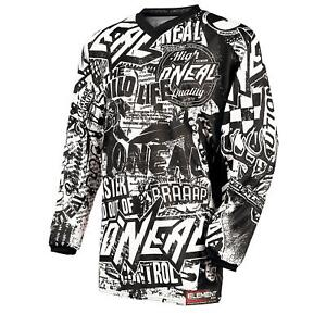 ONeal-Element-MX-Jersey-WILD-Schwarz-Weiss-Moto-Cross-Downhill-Enduro-MTB-Trail