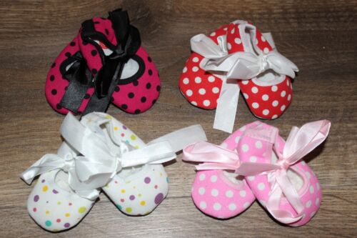 NEW Lot of Baby Girl MARY JANE Crib Shoes Soft Sole POLKA DOT Pink Red Black