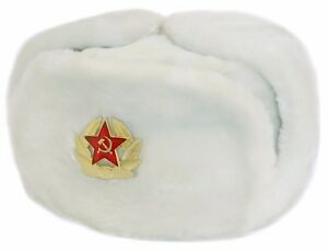 Image is loading Russian-Winter-White-Hat-Ushanka-With-Soviet-Army- aad5cdaf7138
