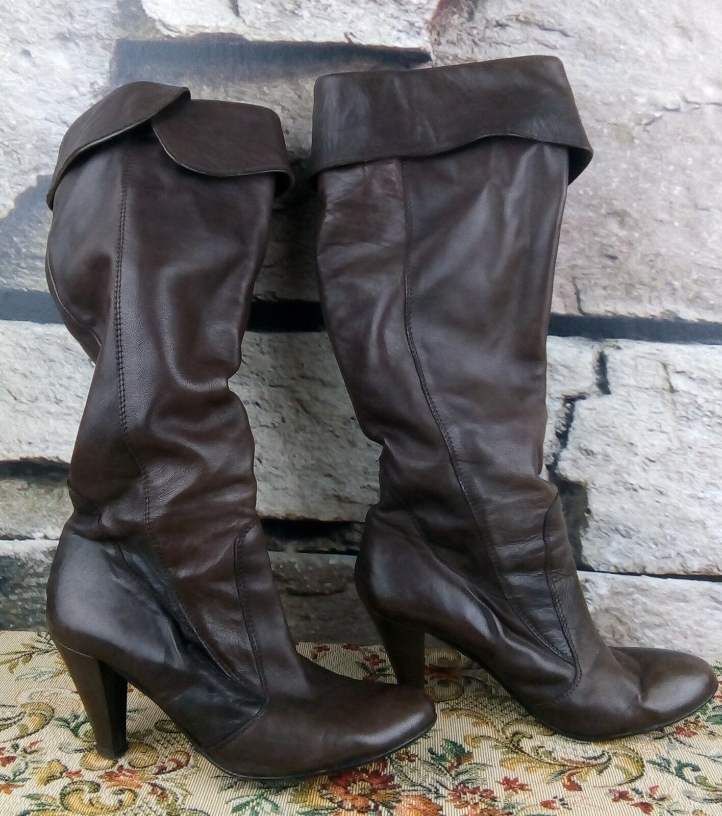 Atelier  señora 40 enviando botas cuero auténtico tacón alto botas marrón oscuro  f1
