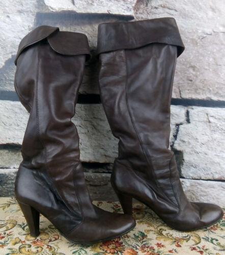 f1 Atelier 40 High Stiefel Boots Schicke Heel Echtleder Dunkelbraun Italy Damen vaTw6rxqAv
