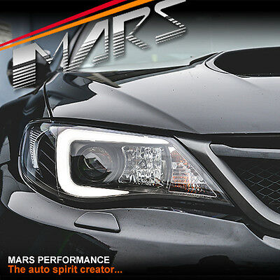 LED 3D Stripe DRL Projector Head Lights for Subaru Impreza WRX 07-13 -Xenon type