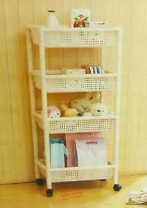 Details about Multi-layer rack / The pulley plastic shelf Home storage