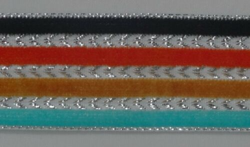 "4.50Yd Velvet Ribbon Trim 1.10/"" wide Woven Border Sew Embroidered  Lace T783"