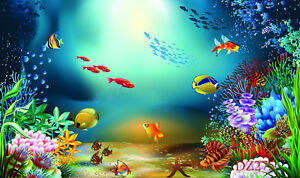 7X5FT Undersea Fishes Vinyl Studio Backdrop Photography Photo Background DZ275