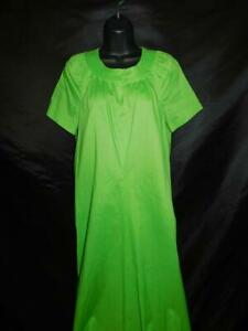 Vintage 60s S M Green Maxi Dress Short Sleeve Cotton Casual Tall Day A Line