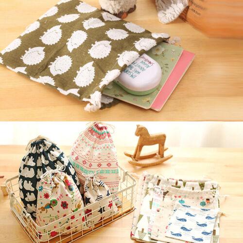 1pc Cotton Linen Drawstring Storage Bag Shoes Laundry Organizer Bag Pouch Gift