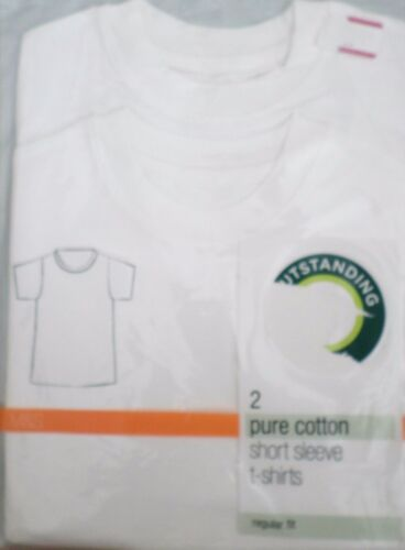 NEW M/&S 2 PACK BOYS WHITE PURE COTTON T SHIRTS SHORT SLEEVE CREW NECK AGE 3 4 7