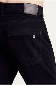Details about True Religion Men's Rocco Moto Skinny Jeans in Body Rinse Black