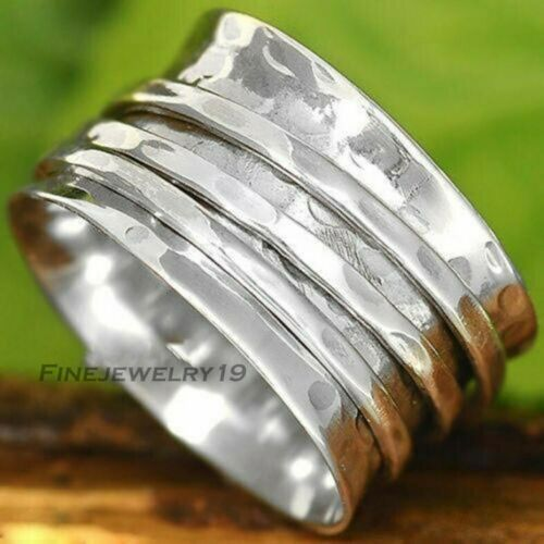 Solid 925 Sterling Silver Wide Band Spinner Ring Meditation Statement Ring GN25
