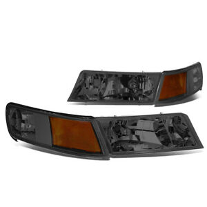For 98 02 Grand Marquis Left Right Smoked Headlights Amber