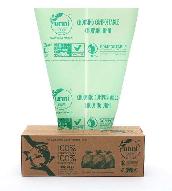 9.84 Liter 2.6 Gallon UNNI ASTM D6400 100/% Compostable Trash Bags 100 Count,