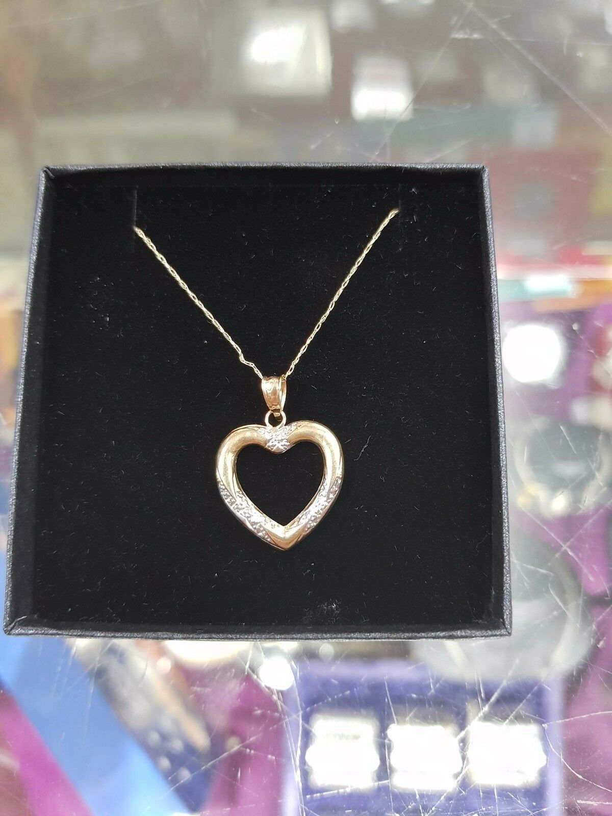 Fine 9 carat chain with 2 tone White and Yellow Heart pendant
