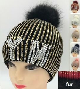 7ac6e02bacb Warm Winter Beanie Ski Fur Pom Pom Striped Hat Crystal NY Metallic ...